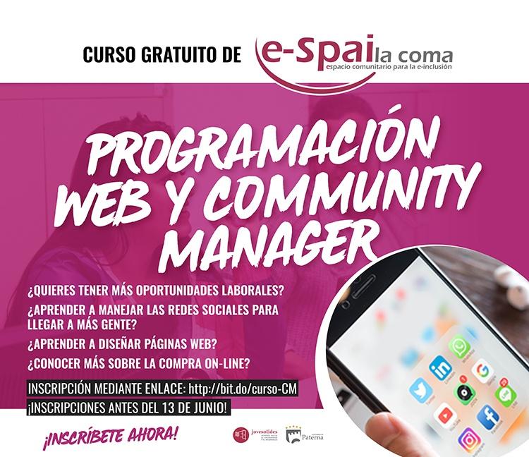 cartel sobre el cursos de community manager